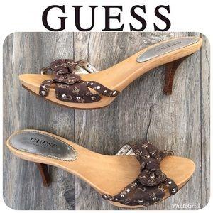LIKE NEW GUESS Heel Sandals Sz 7.5M Orig $169!